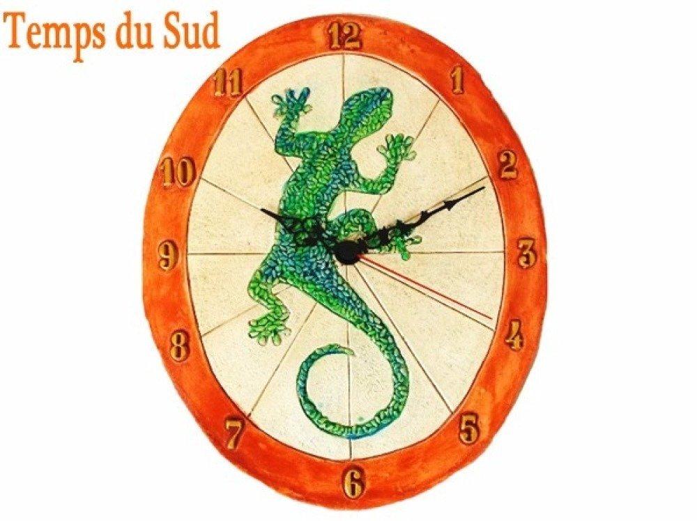 cadran solaire gécko, cadran solaire margouillat, terre cuite, décoration écologique, horloge sans pile, décoraton de jardin