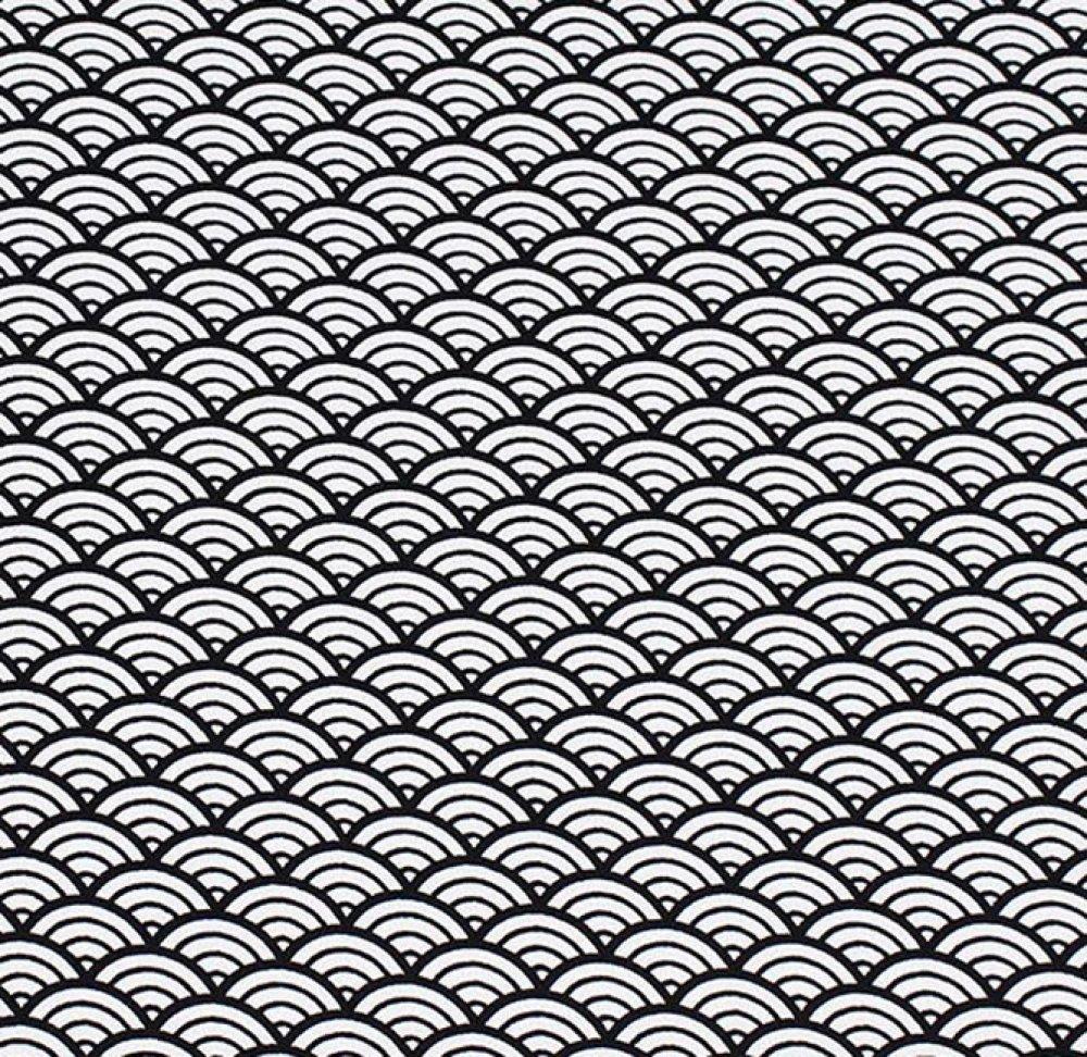 Tissu coton imprimé japonais vagues noir et blanc x10cm