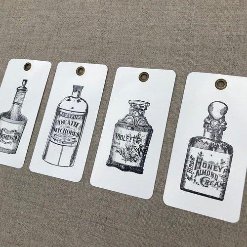 Etiquette moyen metal  lots de 4 anciennes bouteilles