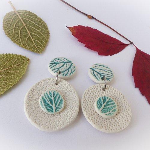 Boucles d'oreilles en porcelaine - collection nature