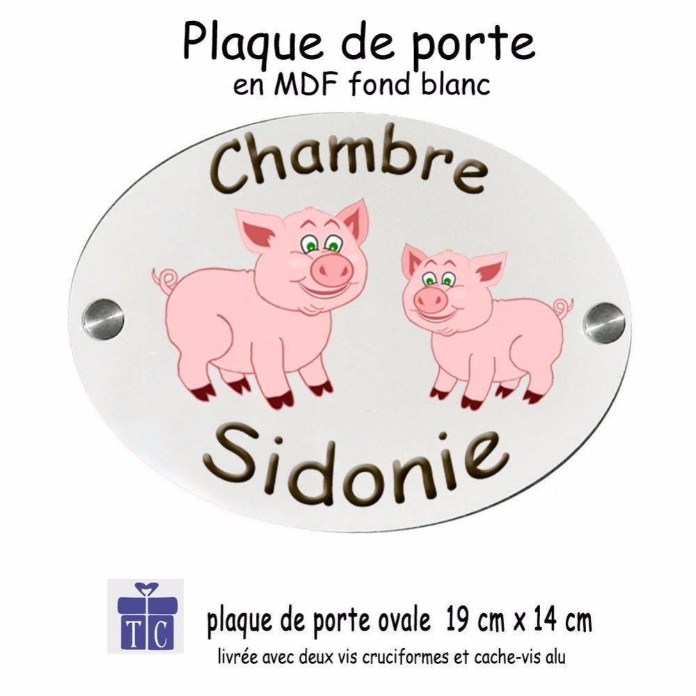 Personnalisez une Plaque de porte Cochon avec un Prénom (ex. Sidonie)