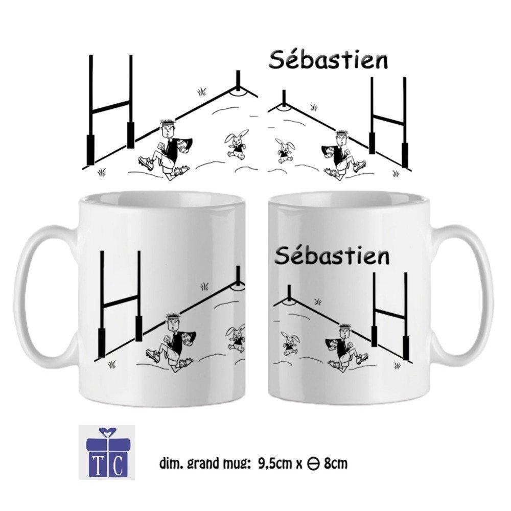 Mug Rugby-personnalisé avec un prénom-(exemple Sébastien)
