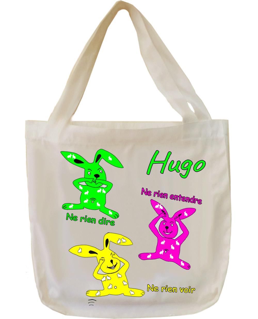 Tote Bags, agréable au toucher, motif Les trois Lapins, à personnaliser…..
