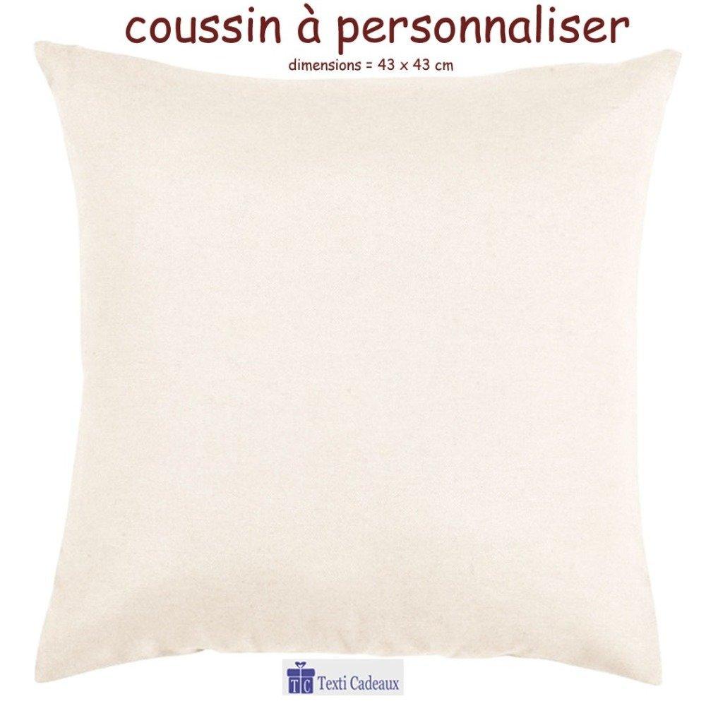 Coussin écru au toucher très doux, Sorciere personnalisé avec un prénom exemple Valérie