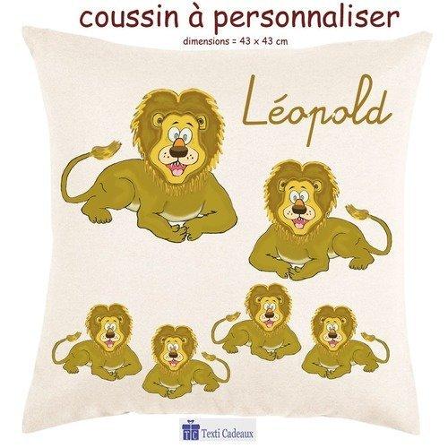 Coussin écru toucher très doux, motif lion à personnaliser avec prénom…