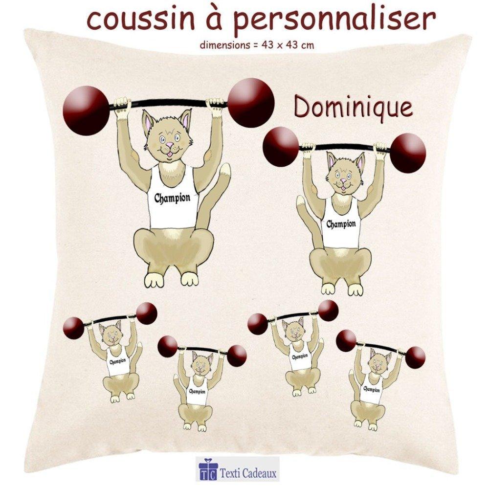 Coussin écru toucher très doux, motif Chat Haltérophile à personnaliser avec Prénom…
