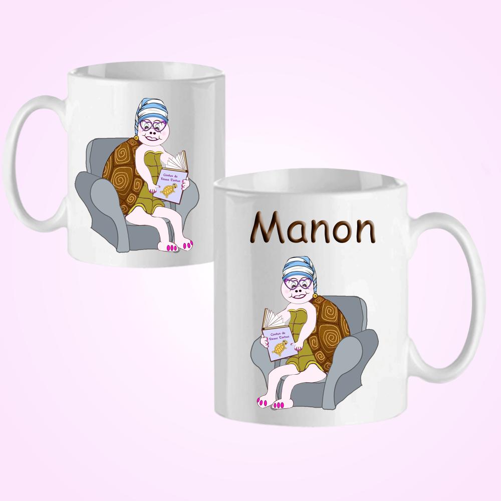 Mug Tortue avec son livre personnalisé avec un prénom exemple Manon