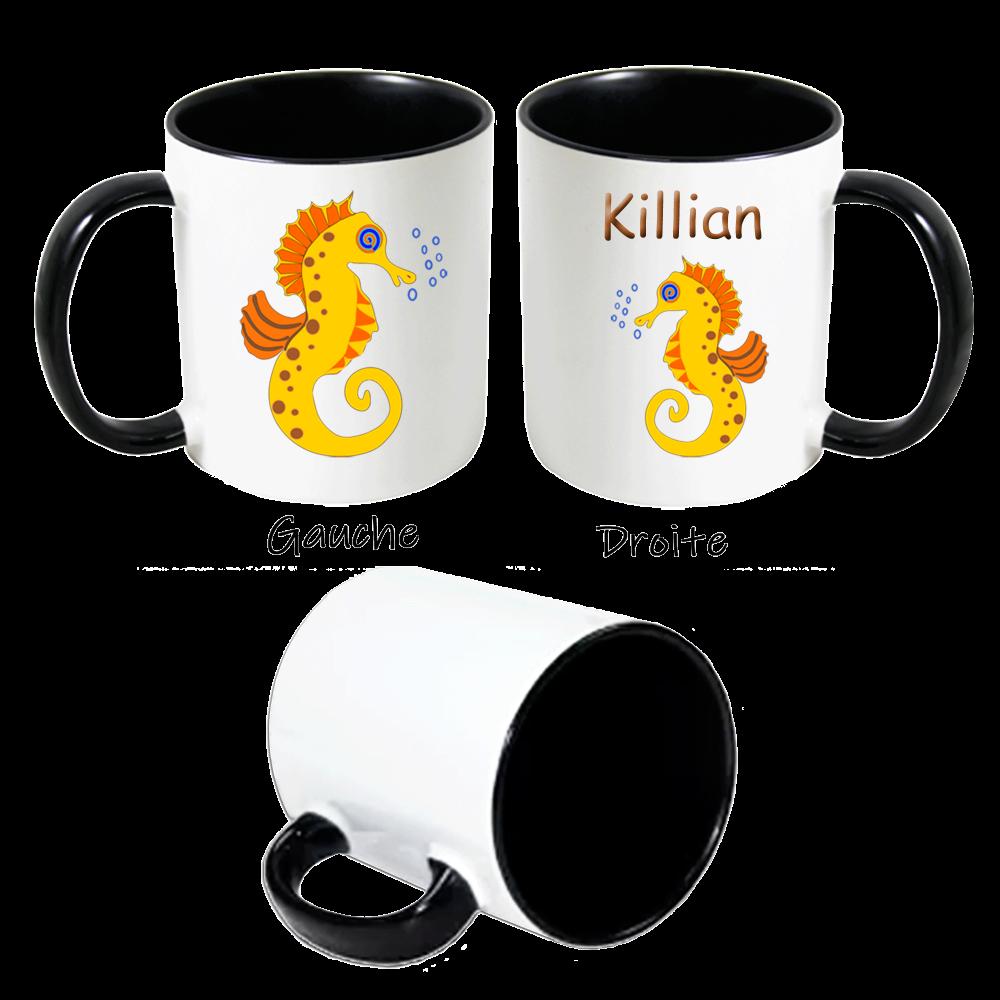 Mug Hippocampe personnalisé avec un prénom exemple Killian