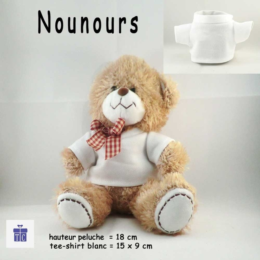 Peluche Nounours-Tee shirt Chat sur un coussin- Personnaliser avec Prénom exemple Romane