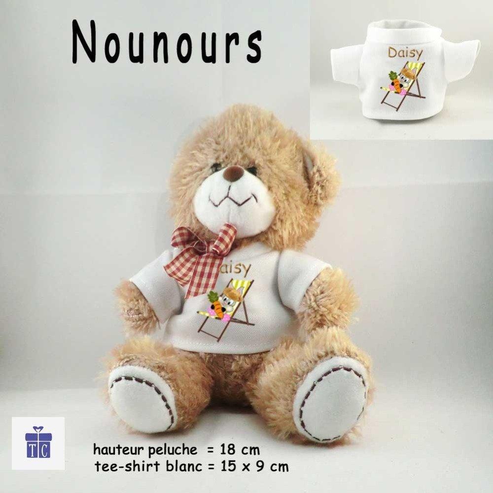 Peluche Nounours-Tee shirt Lapin Chapeau de Paille- Personnaliser avec Prénom exemple Daisy