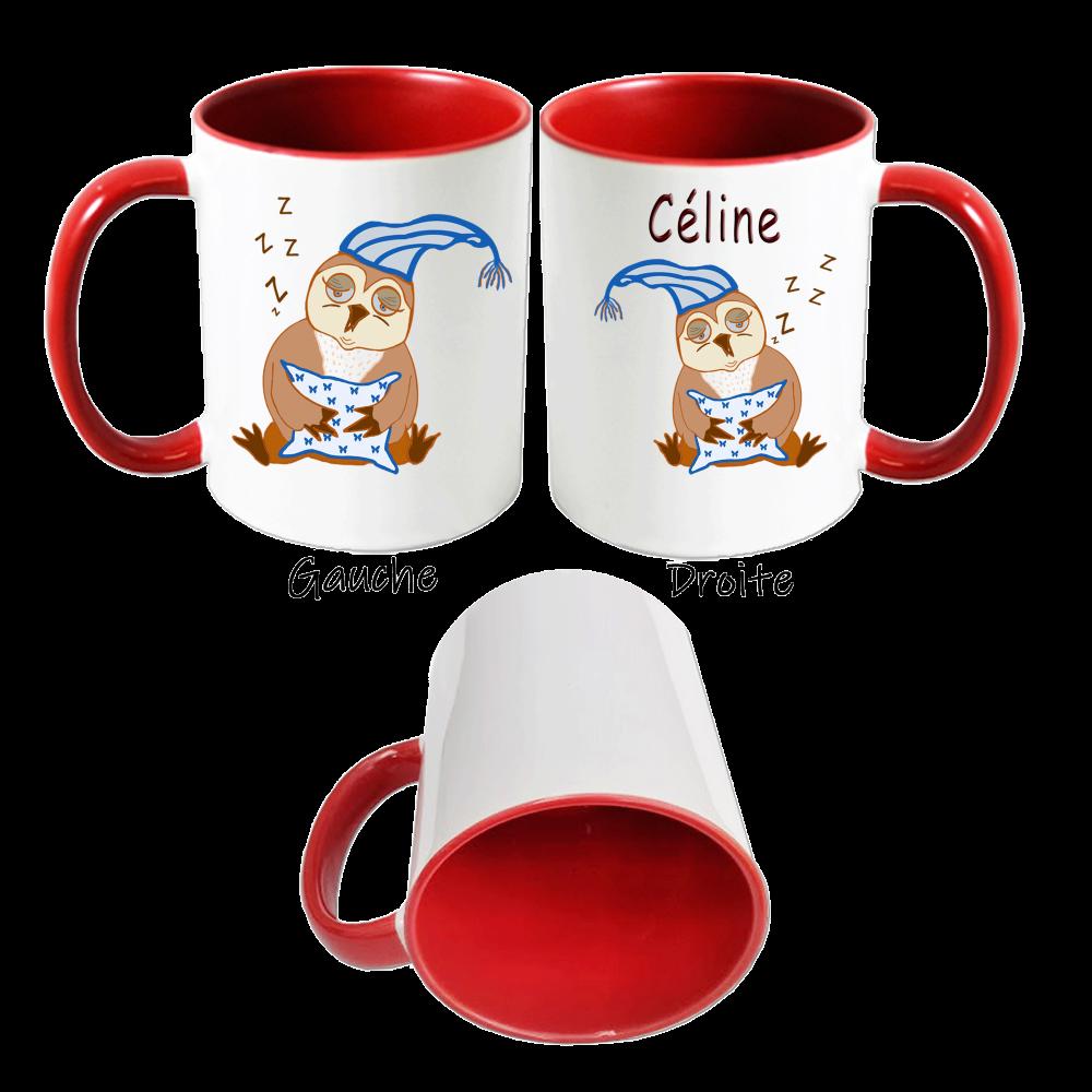 Mug Chouette bonnet de nuit personnalisé avec un prénom exemple Céline