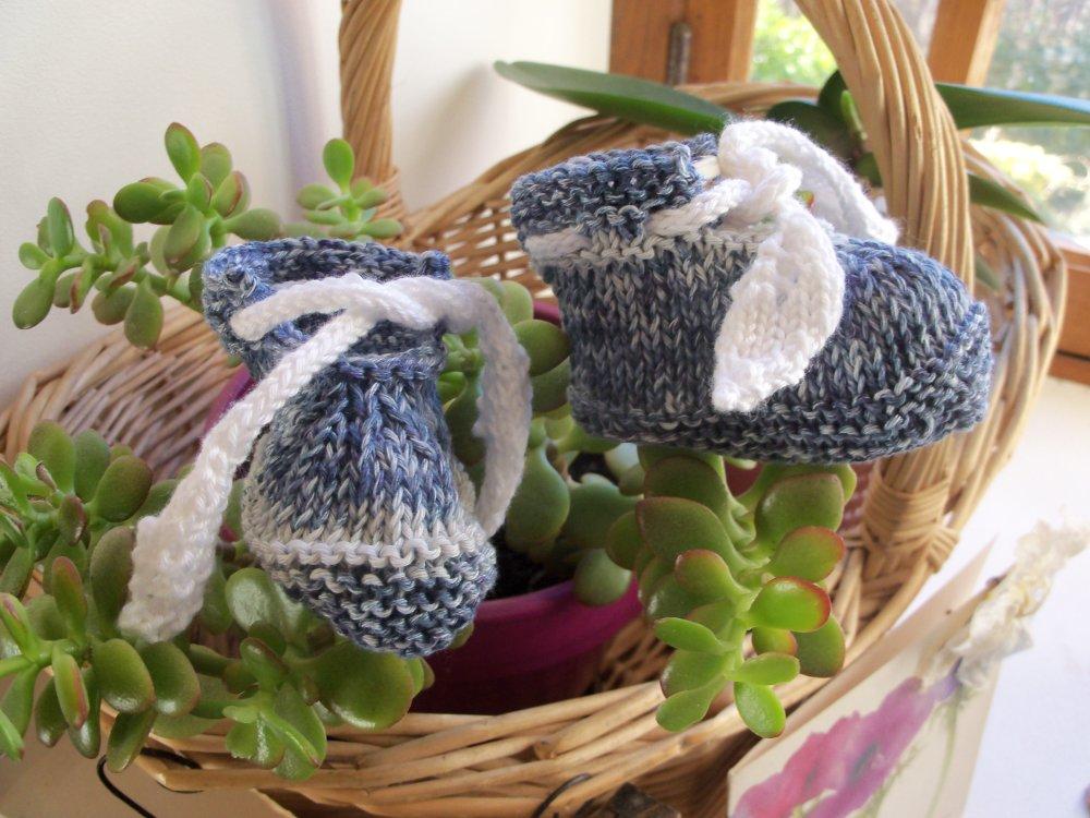 Chaussons bébé 3 mois coton tricotés main