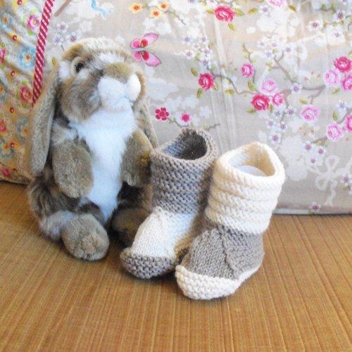 Chaussons bottillons boots bébé tricotés main mérinos et alpaga