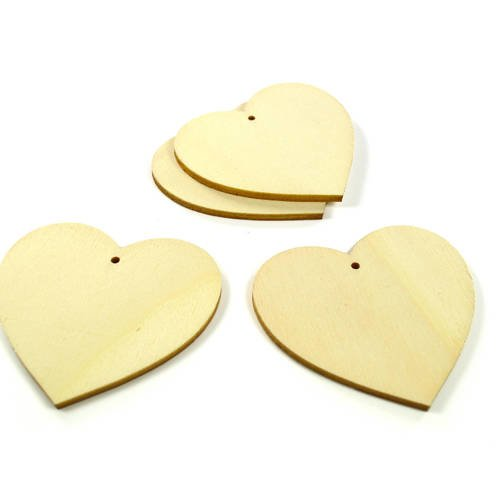 4 supports pendentifs coeurs en bois 50 mm - a peindre ou à décorer