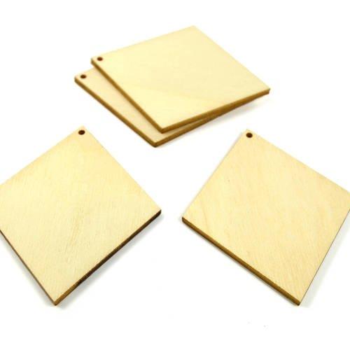 4 supports pendentifs losanges en bois 65 mm - a peindre ou à décorer