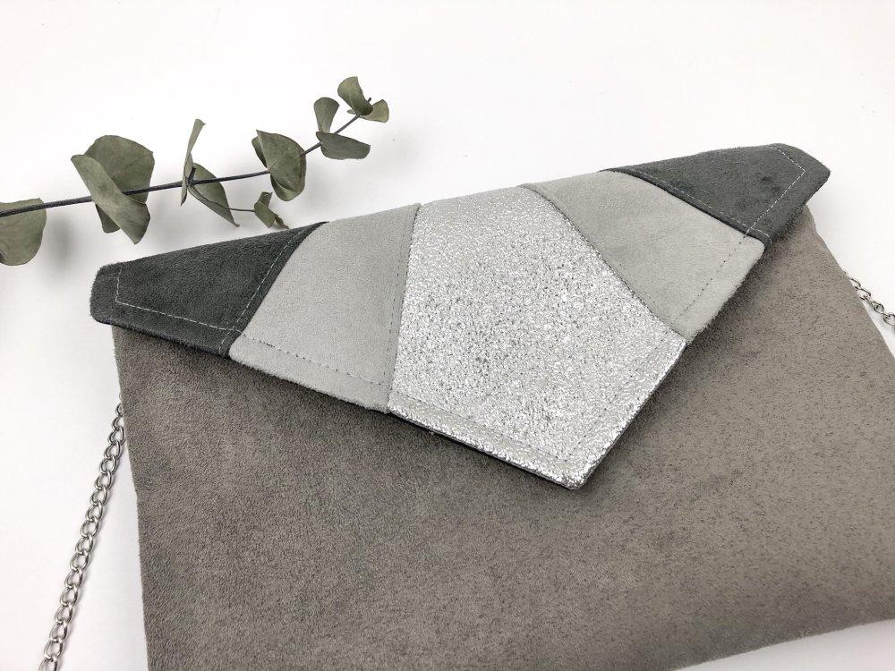 Pochette sac gris et argenté