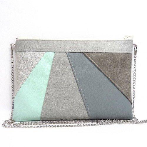 Pochette grise et mint, sac à main gris mint, pochette mariage