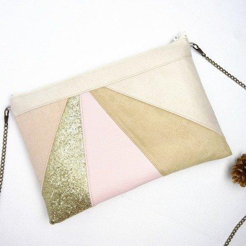 Pochette beige nude rose poudré sac à main pochette mariage