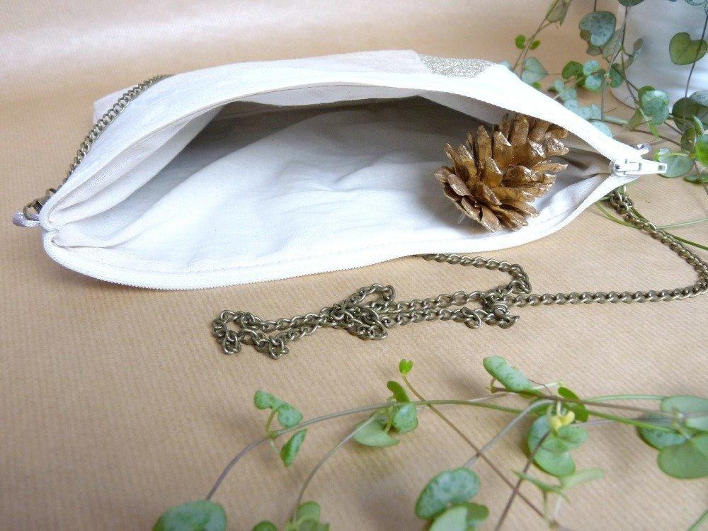 Pochette blanche beige doré Sac à main Pochette mariage