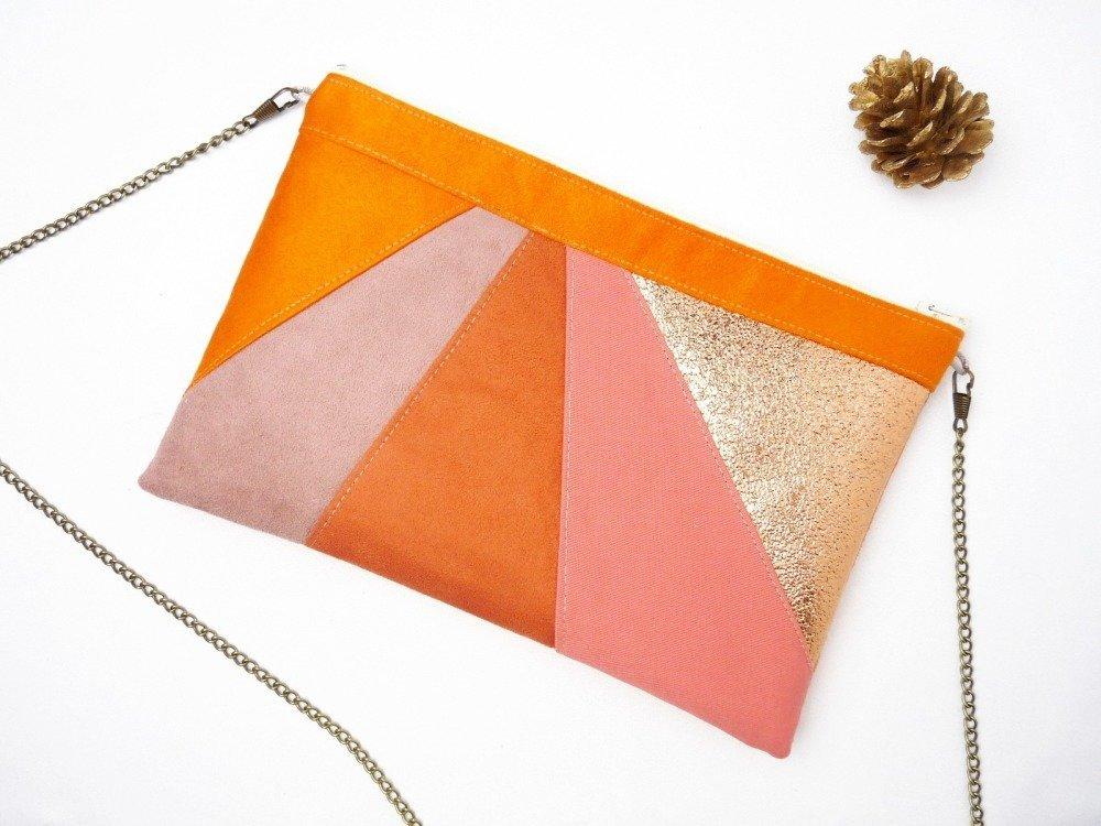 Pochette orange corail cuivré, pochette soirée mariage, demoiselle d'honneur