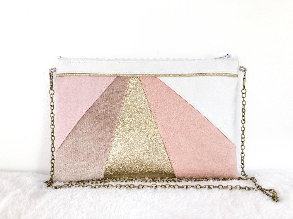 Pochette rose poudré doré et blanche, Sac à main blanc rose poudré, pochette mariage