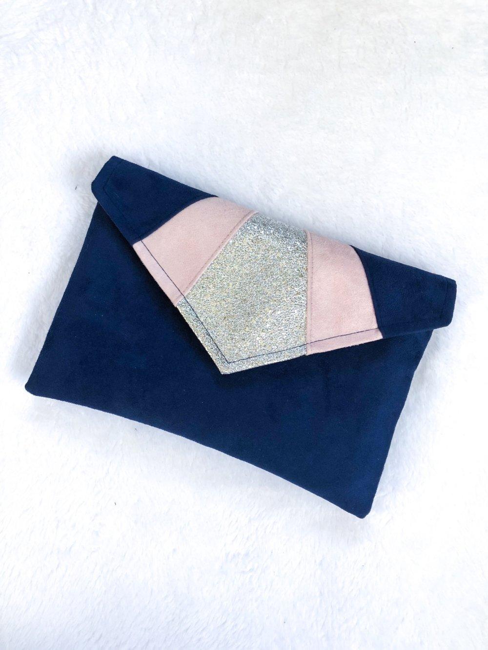 Pochette bleue marine rose argenté, pochette de soirée mariage
