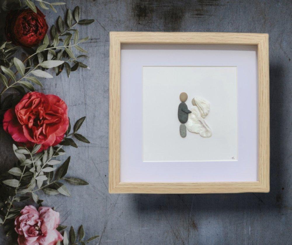 Faire Un Tableau Avec Des Galets pebble art galets cadre tableau cadeau gift   mariage   wedding    fiançailles   amour   love