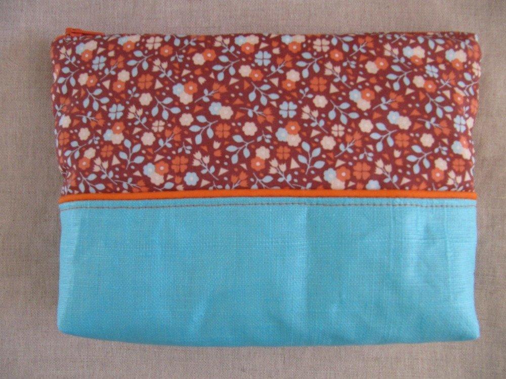 Trousse ou pochette en lin et coton bleue et orange