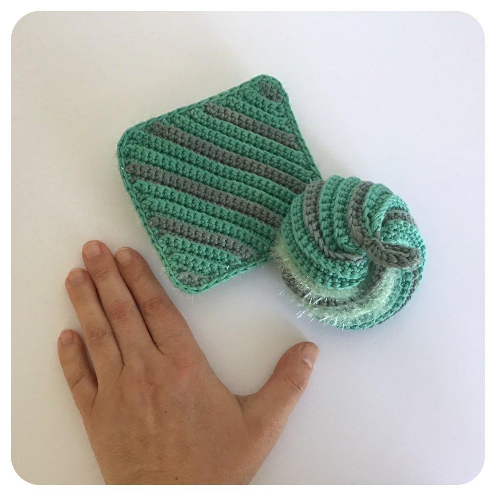 Tawashis, Éponges japonaises  Multi Usage vertes en Coton et Polyester, Écologique, Zéro Déchet, Lavable et Réutilisable