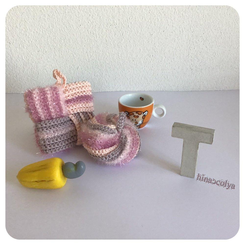 Tawashis, Éponges japonaises  Multi Usage rose et lilas en Coton et Polyester, Écologique, Zéro Déchet, Lavable et Réutilisable