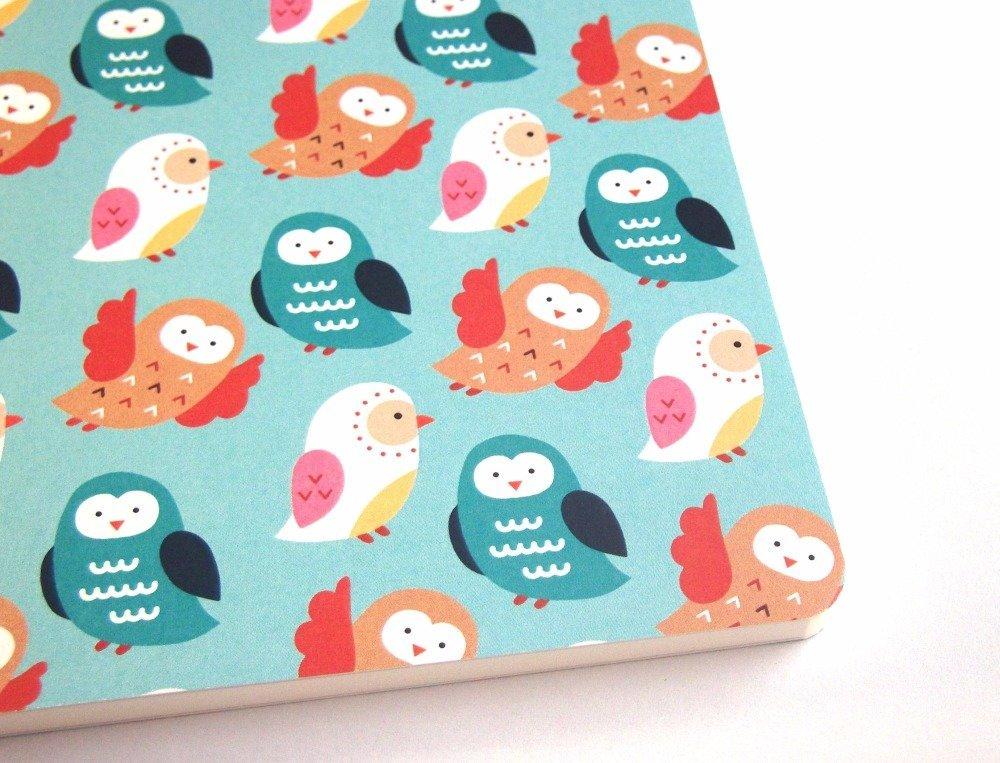 Petit carnet A6 coloré - motif : chouettes