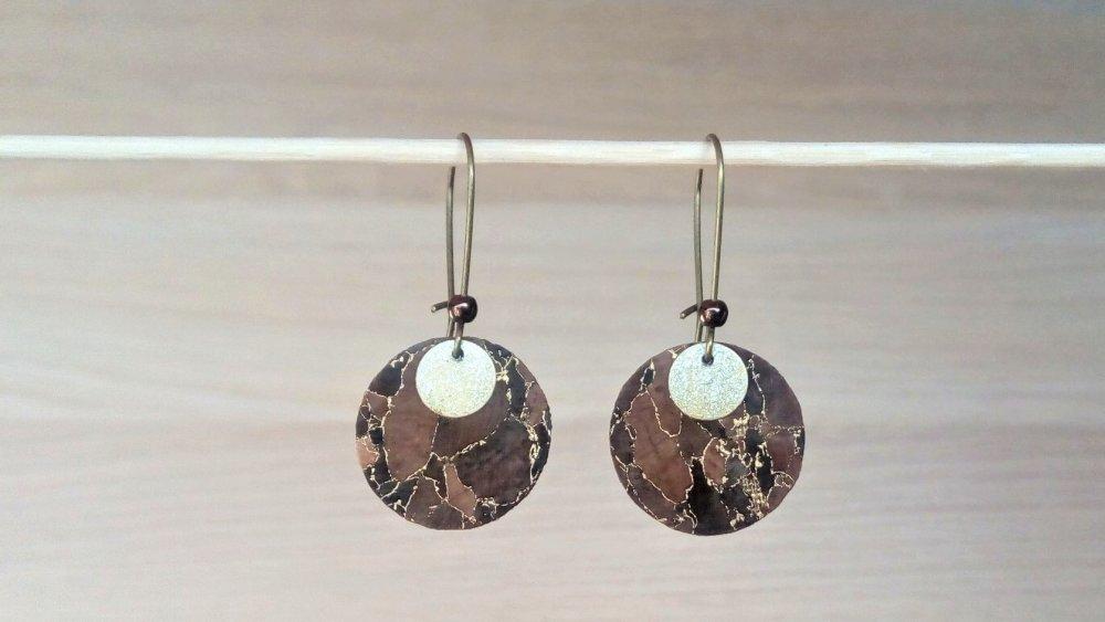 Boucles d'oreilles mode rondes tissu liège marron bronze et doré Modèle Toffee