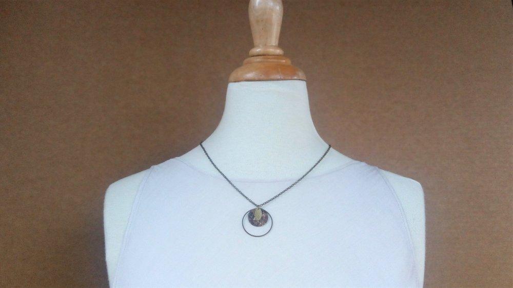 collier ras de cou chaîne pendentif ronds motif liège marron doré et bronze modèle Toffee