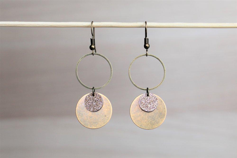 Boucles d'oreilles 2 cercles bronze et doré Modèle Noisette