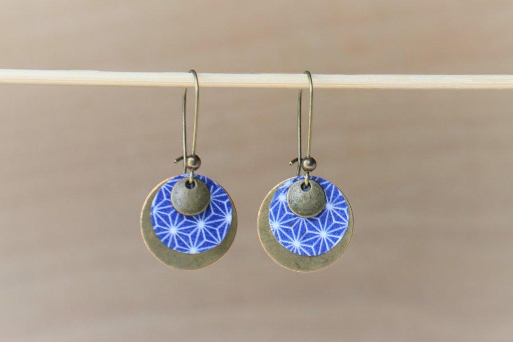 Boucles d'oreilles rondes bronze et bleu marine motifs japonais