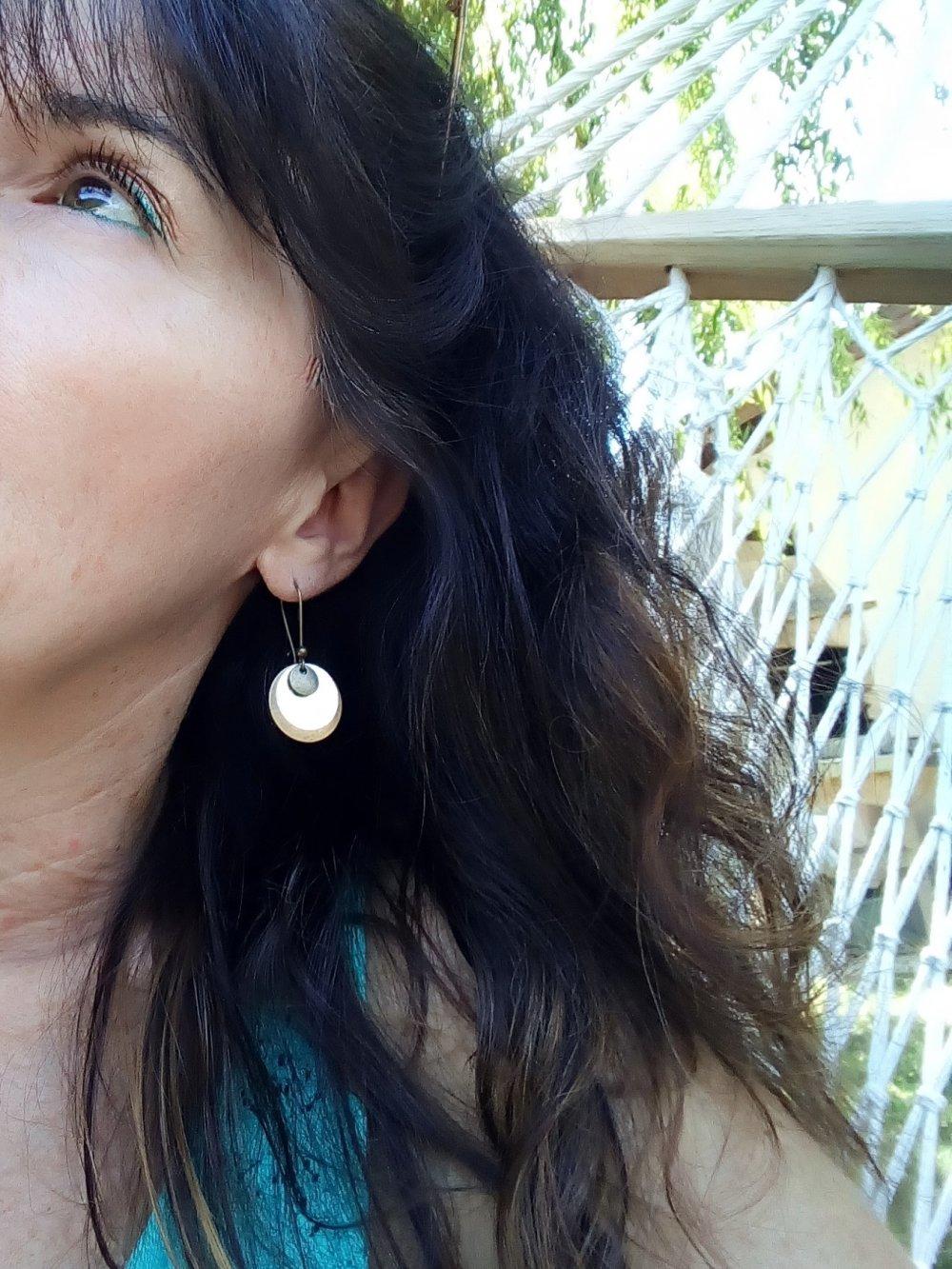 Boucles d'oreilles rondes Liberty revisité couleur bleu rouge Modèle Betsy Ann
