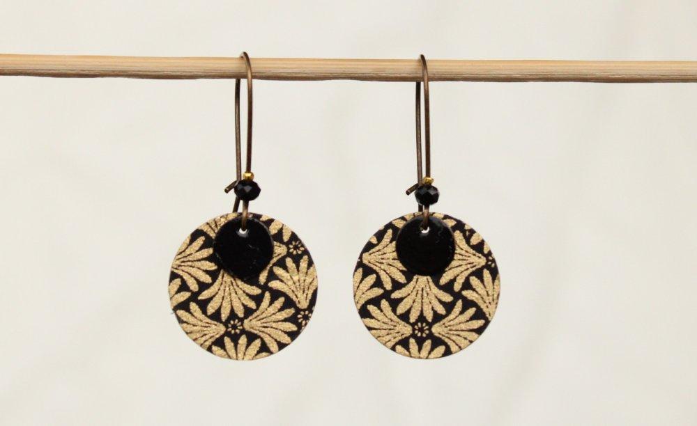 Boucles d'oreilles rondes noir et or Modèle brocart Jacquard baroque