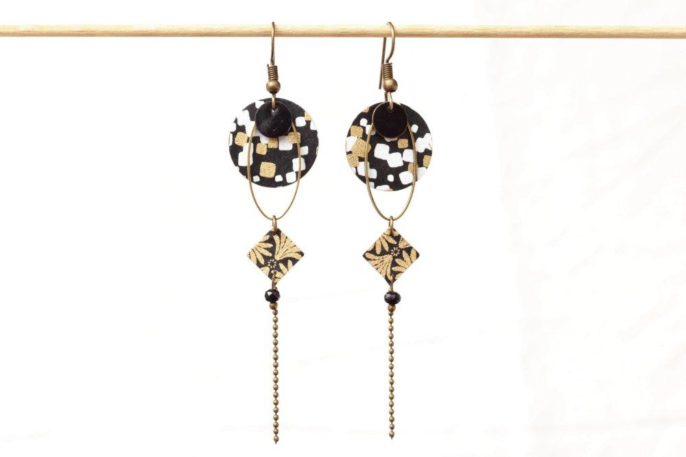 Boucles d'oreilles longues japonaises noir blanc or et bronze Modèle Miyuki : belle neige, 美由紀