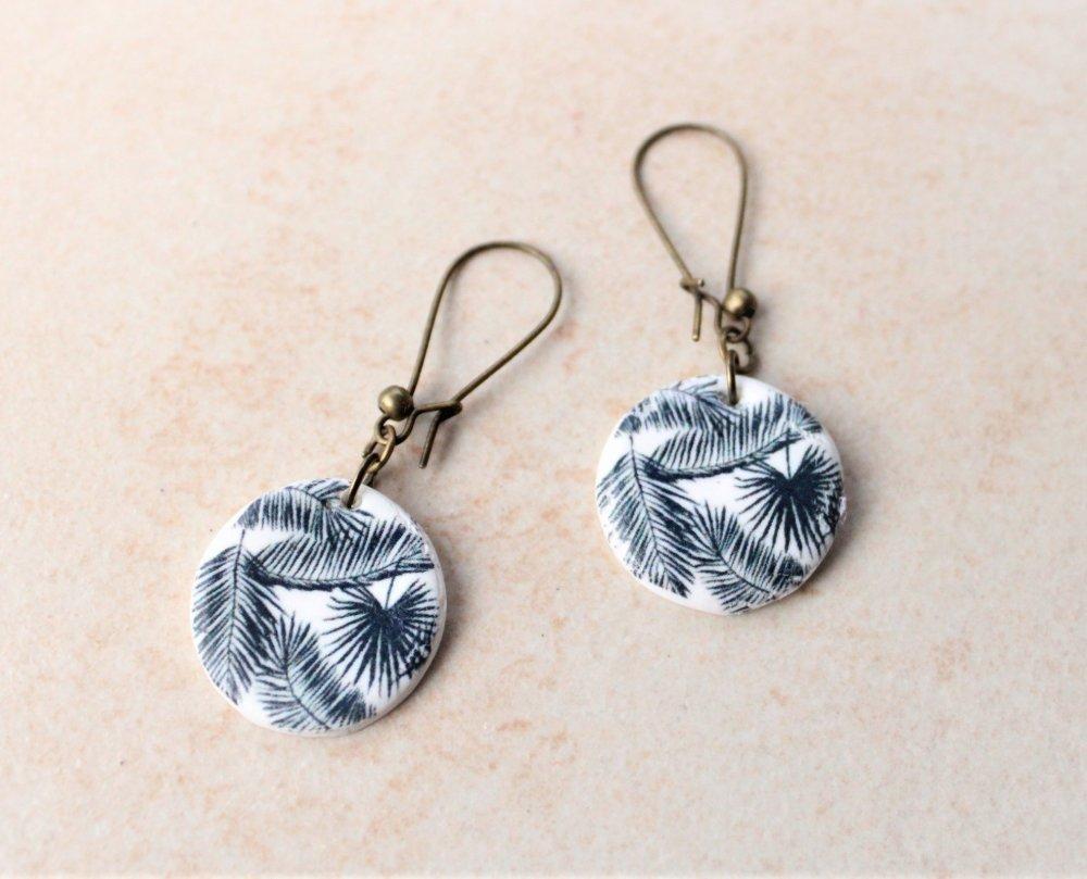 Boucles d'oreilles artisanales porcelaine froide rondes fleurs palmiers marine NICE