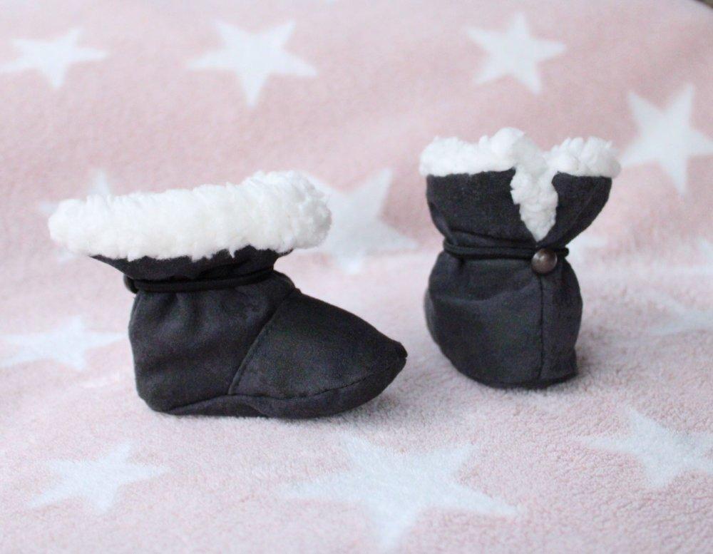 chaussons fourrés bébé bottines gris cadeau naissance
