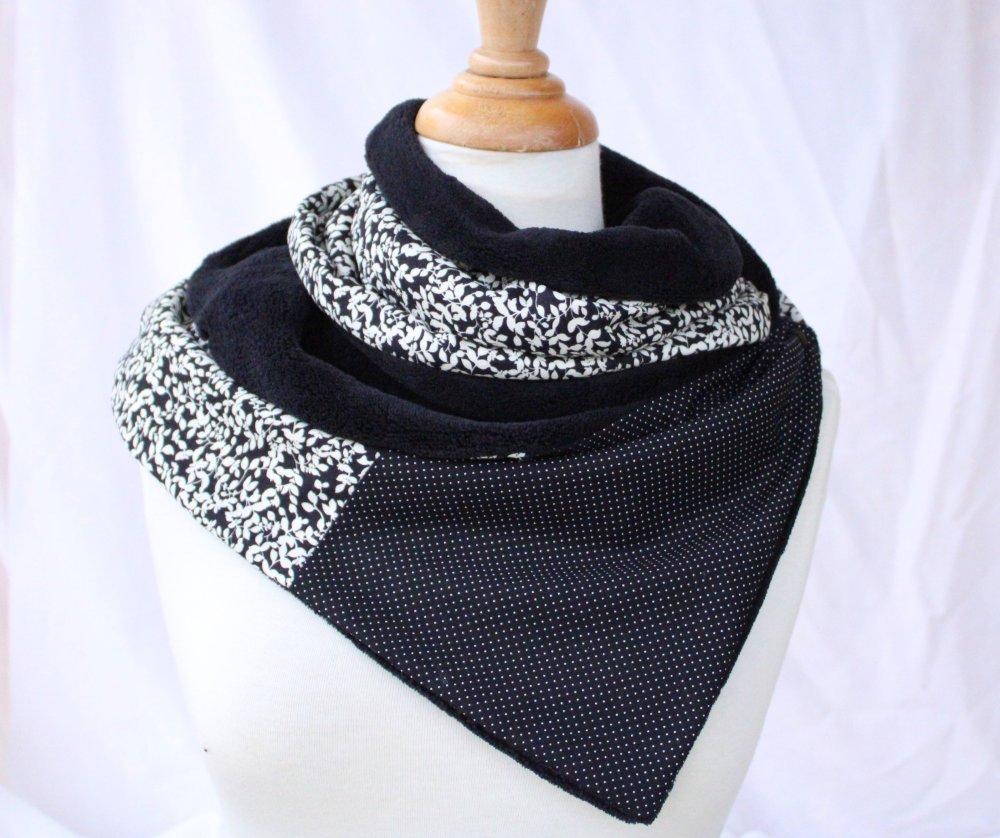 écharpe chaude polaire femme double tour noir blanc écru modèle cocoon