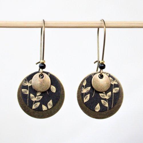 Boucles d'oreilles rondes fleurs noir et or