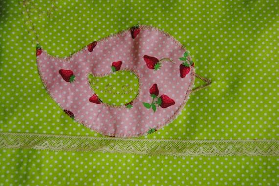 Couverture bébé thème oiseaux, rose vert, pour Myla