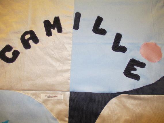Couverture bébé , doublée polaire, motifs géométriques, personnalisable