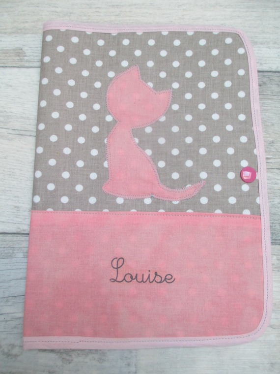 Protège carnet de santé personnalisé, pour Louise, sur commande!