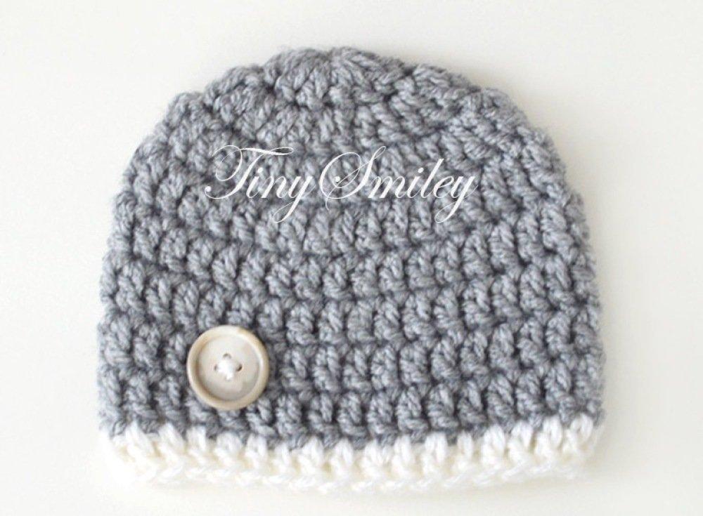 Bonnet Gris bonnets Garçons Crochetés Naissance Hôpital cadeau bébé