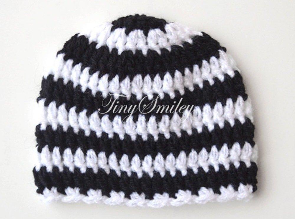 Bonnet Bébé Crocheté noir et Blanc Naissance Rayé pour Garçon Bonnets Bébé