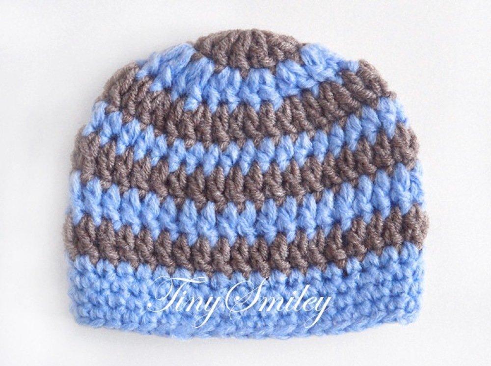 Bonnet Bébé Crocheté Rayé bleu et marron Naissance pour Garçon Bonnets Bébé