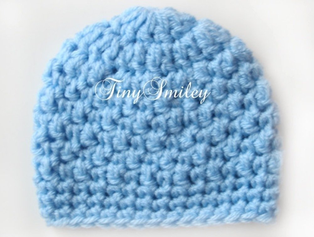 Bonnet bleu pour Garçon bonnets Crochetés naissance avec un bouton