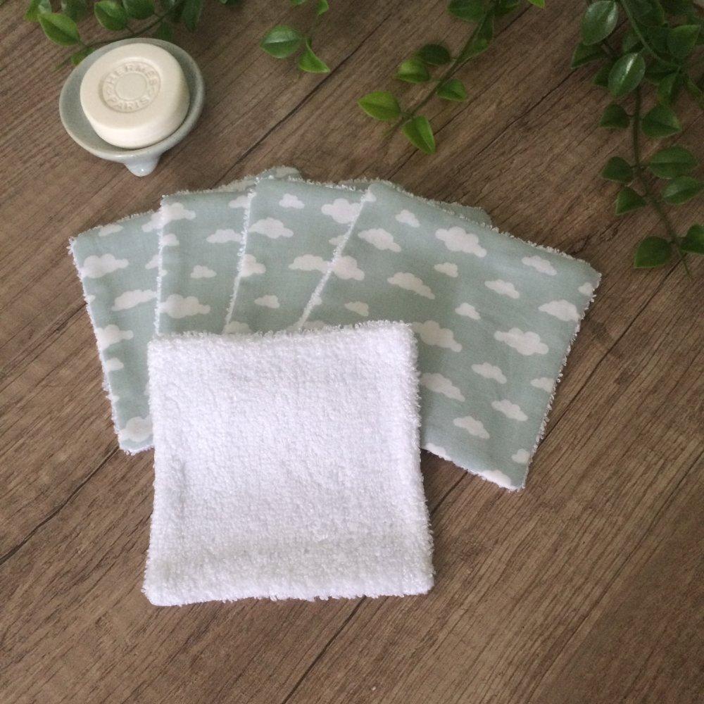 lingettes démaquillantes lavables en bambou nuage vert